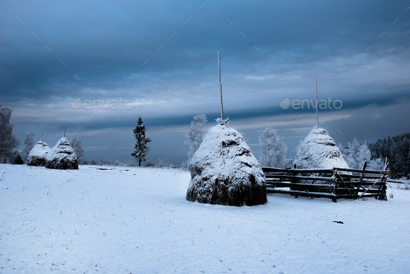 Snow covered haystacks. Winter rural scene in the mountains - Stock Photo - Images