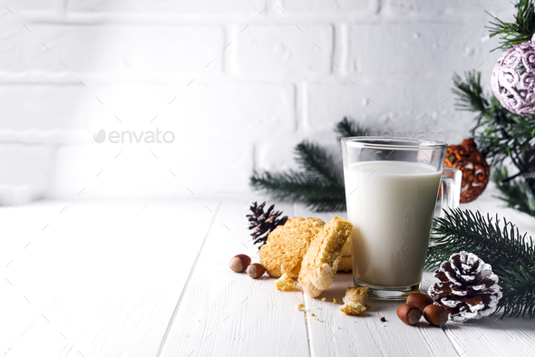 glass of milk and cookies left for Santa Claus specifically. - Stock Photo - Images