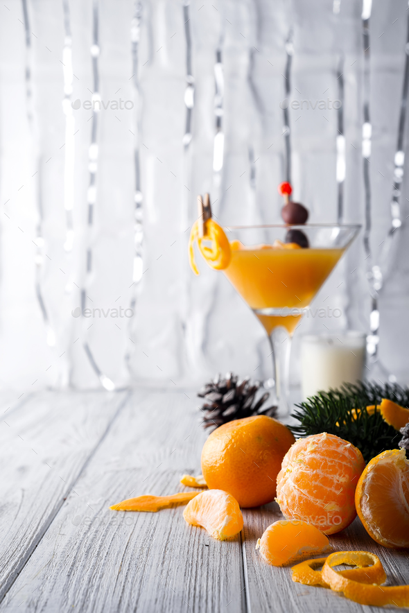 Tangerine and fir branches - Stock Photo - Images