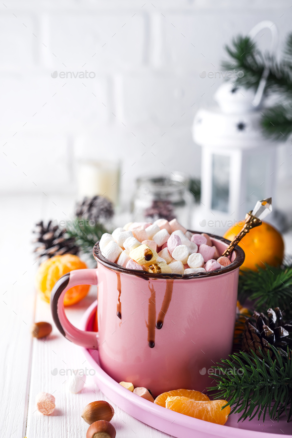 mug with hot chocolate with melted marshmallow - Stock Photo - Images