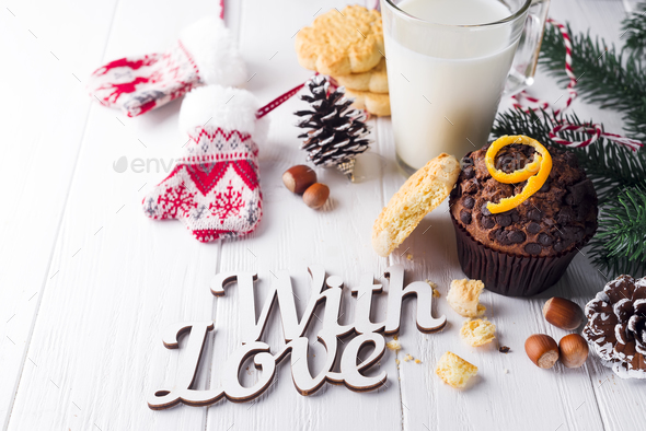 chocolate muffins with jug with milk - Stock Photo - Images