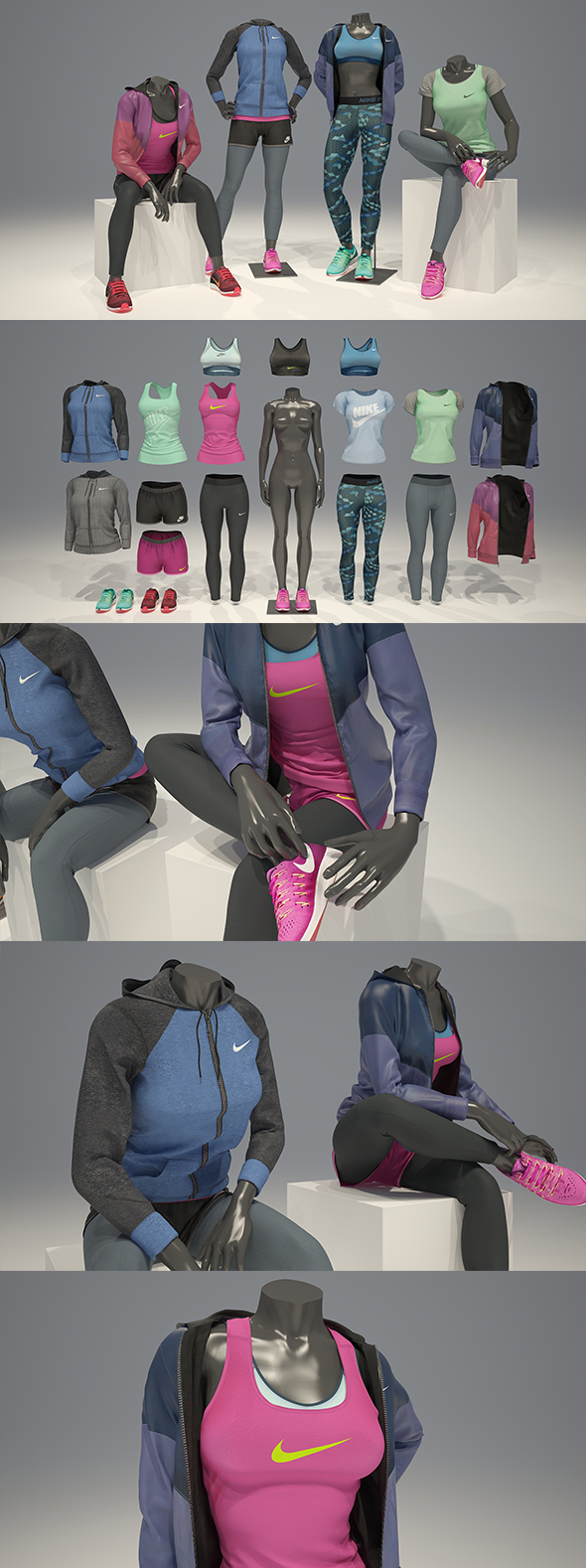 3DOcean Female mannequin Nike pack 3 3D model 21087429