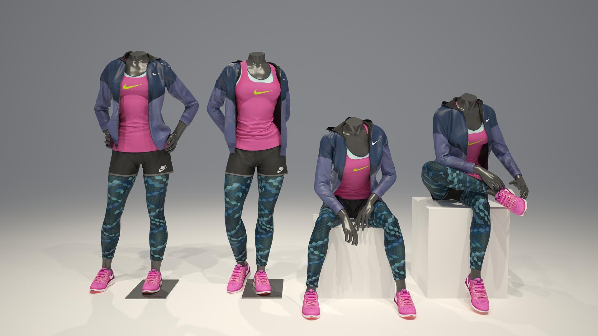 Female mannequin Nike pack 3 3D model