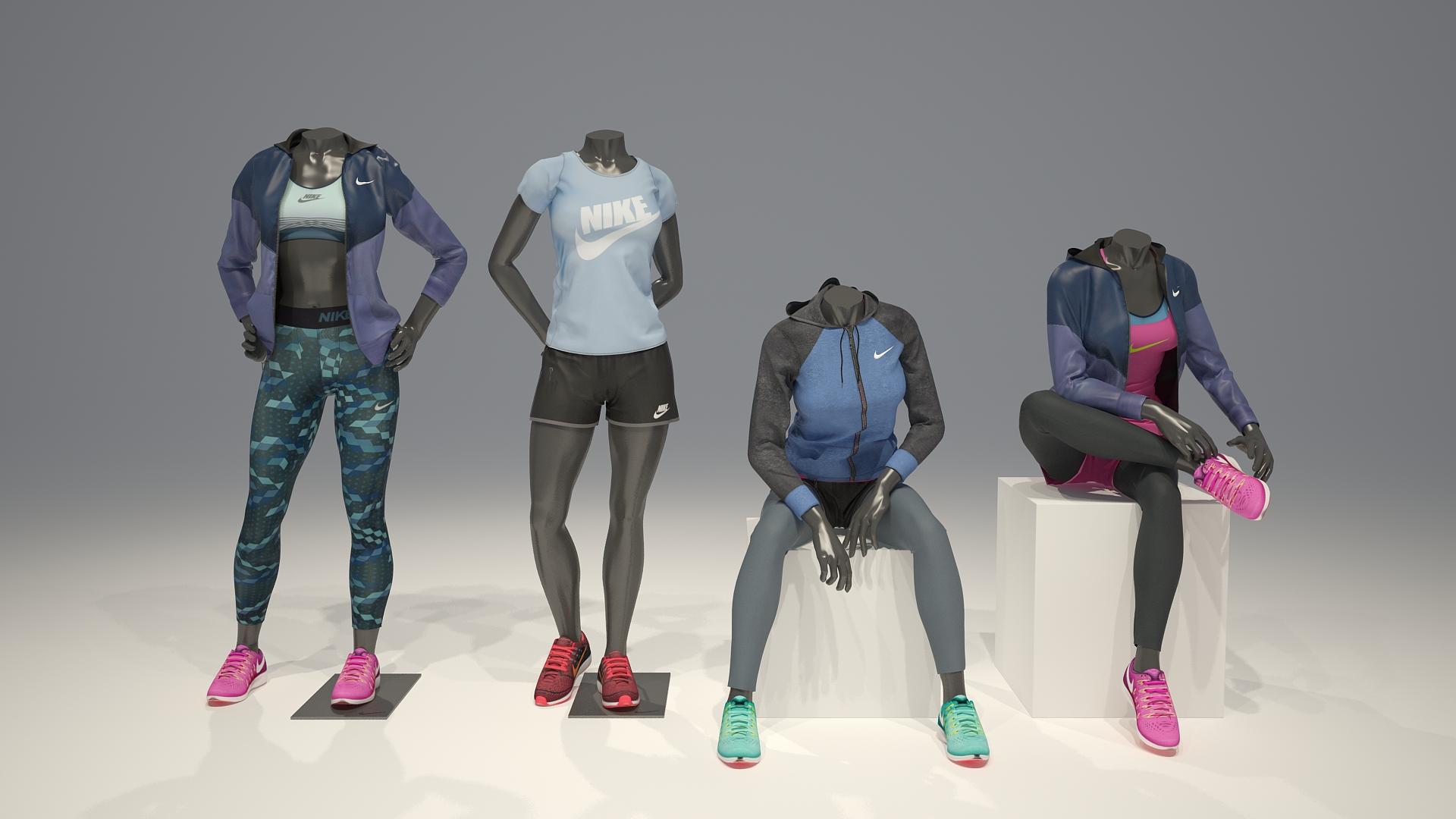 Female Mannequin Nike Pack 3 3d Model By Mrgarret 3docean
