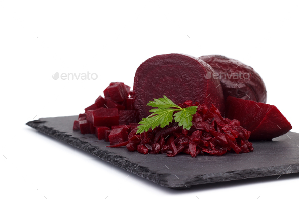 Boiled beetroot cut into slices - Stock Photo - Images