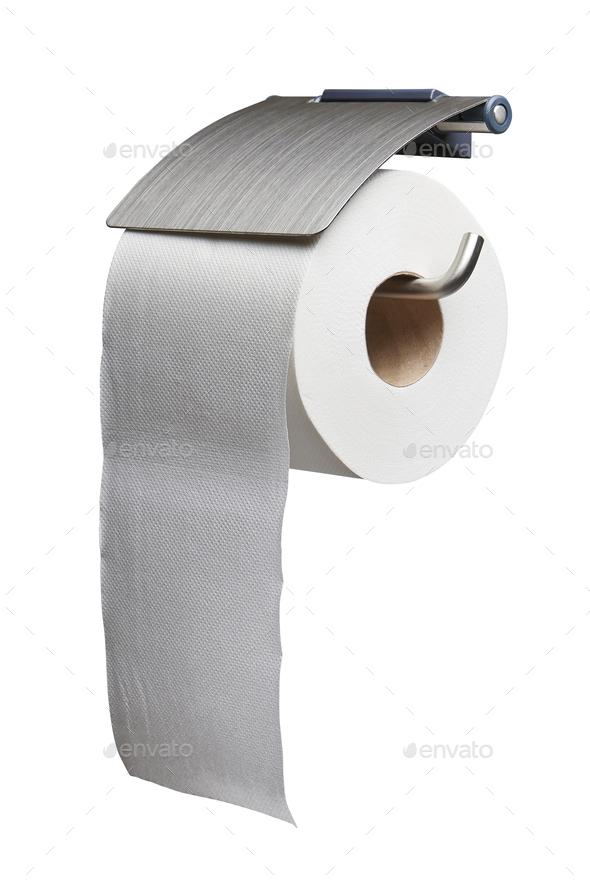 White toilet roll paper dispenser isolated - Stock Photo - Images