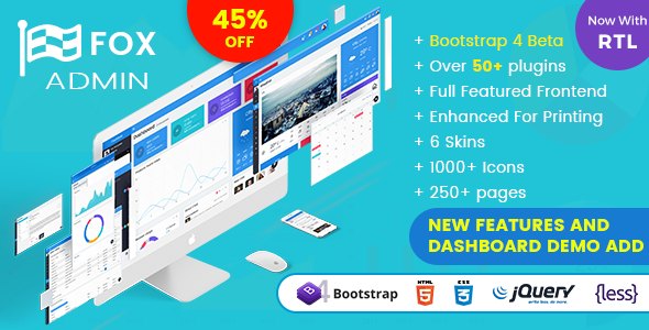 Fox - Multipurpose Bootstrap 4 Admin Dashboard Template + UI Kit