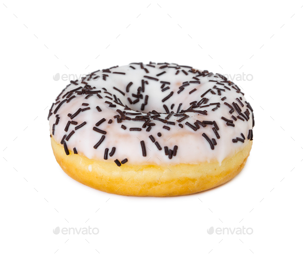 Donut with white icing and chocolate sprinkles - Stock Photo - Images
