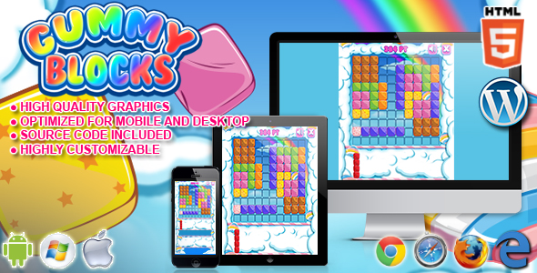 Gummy Blocks - HTML5 Puzzle Game - CodeCanyon Item for Sale