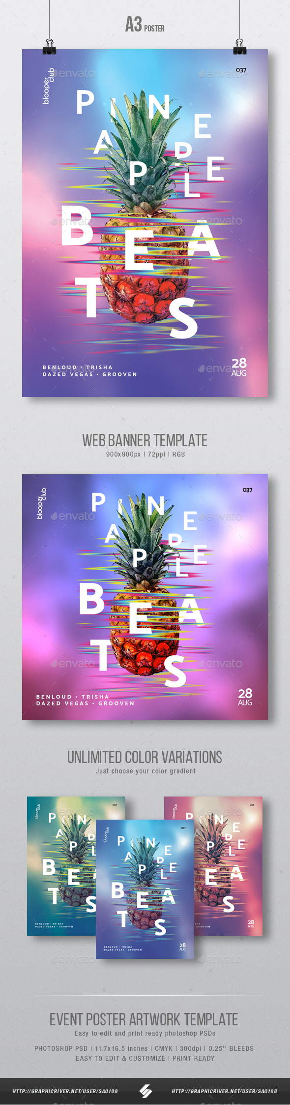 GraphicRiver Pineapple Beats Creative Party Flyer Poster Artwork Template A3 21087975