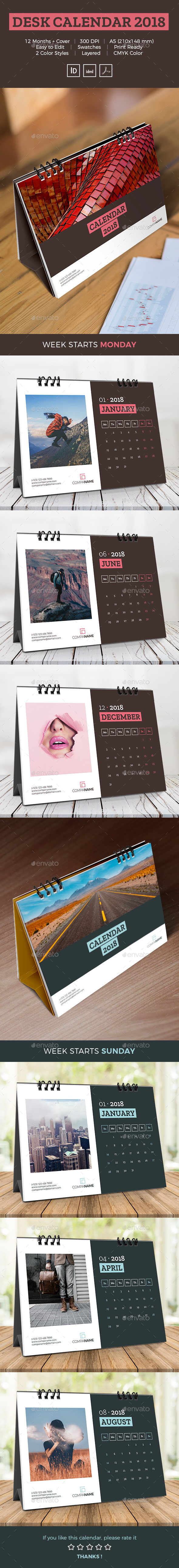GraphicRiver Desk Calendar 2018 21088181