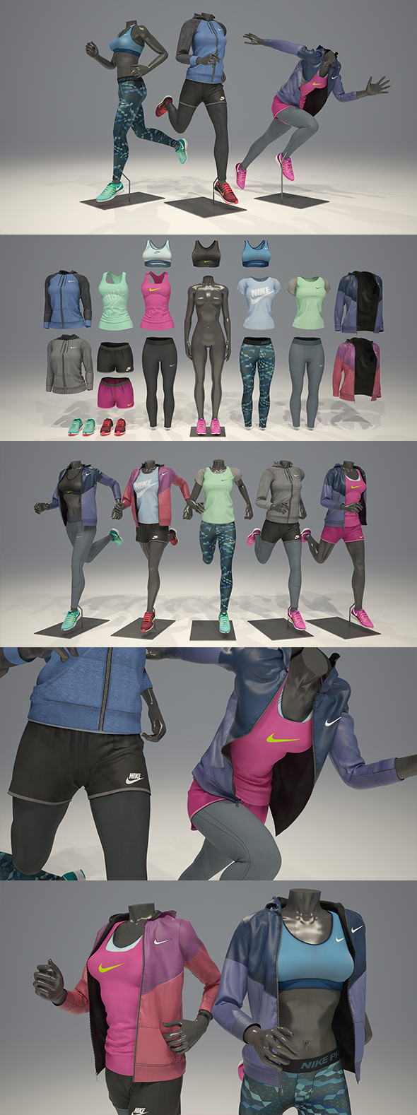3DOcean Female mannequin Nike pack 4 3D model 21088206