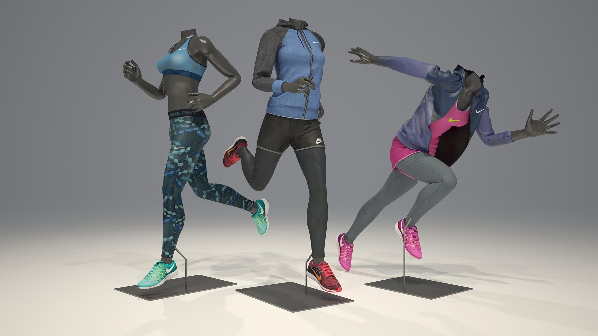 Female mannequin Nike pack 4 3D model