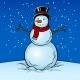 Snowman Pop Art Vector Illustration