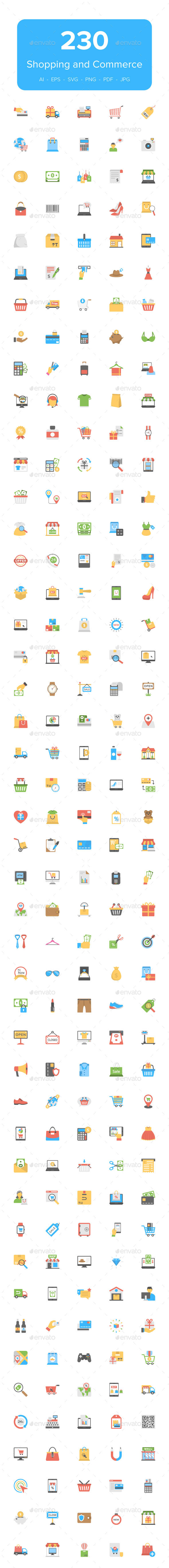 GraphicRiver 230 Flat Shopping and Commerce Icons 21088586