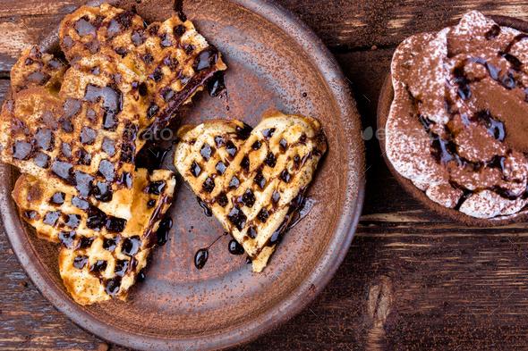 Belgian heart shaped waffle - Stock Photo - Images