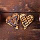 Belgian heart shaped waffle with hot chocolate with marshmallow on wooden background. - PhotoDune Item for Sale