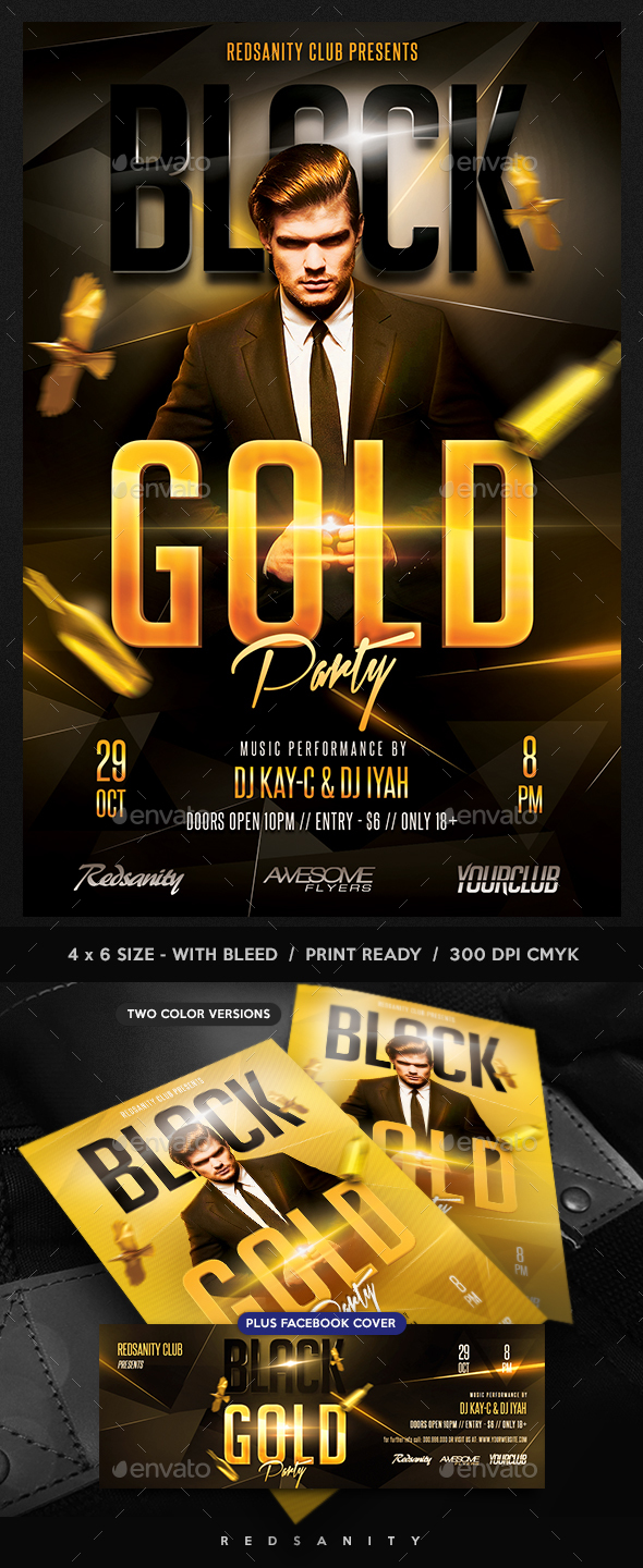 Black Gold Party Flyer plus FB Cover - Clubs & Parties Events