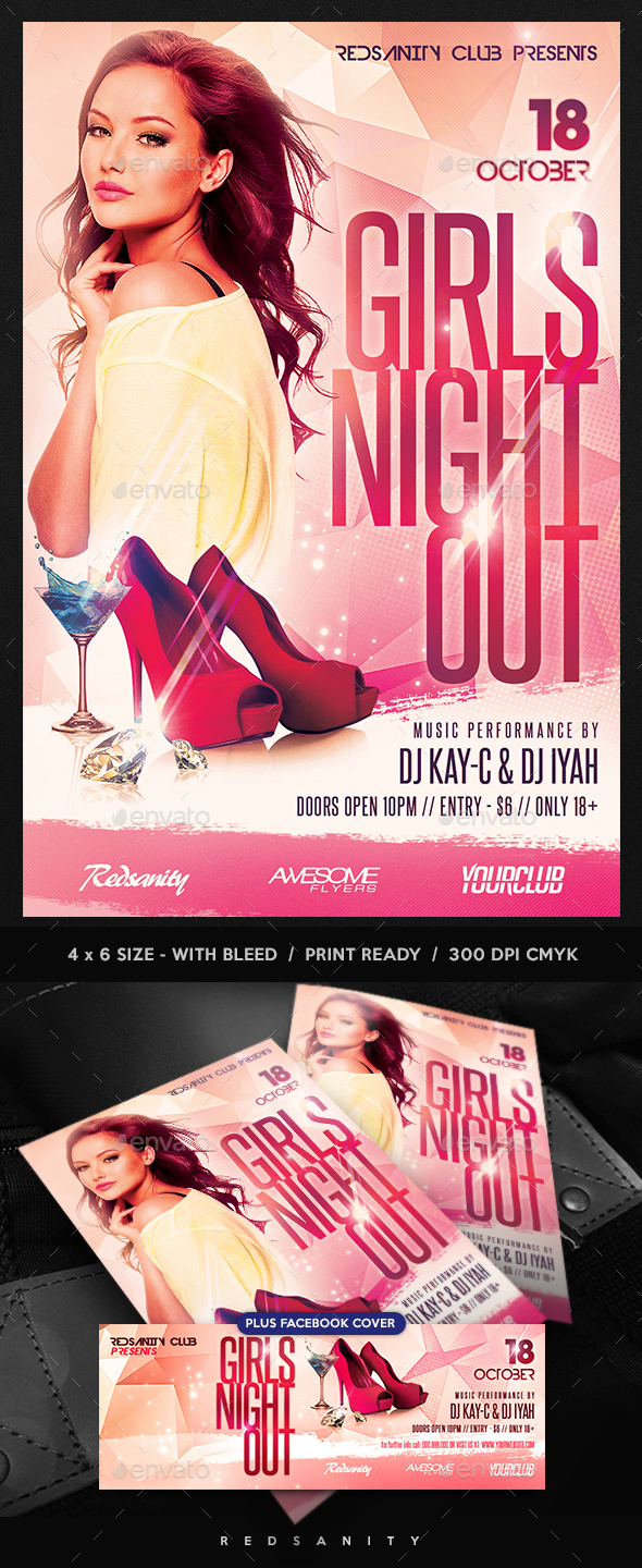 Girls Night Out Flyer plus FB Cover - Clubs & Parties Events