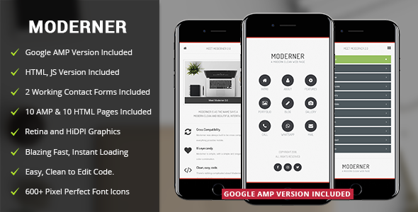 Moderner Mobile | Mobile & Google AMP Template - Mobile Site Templates