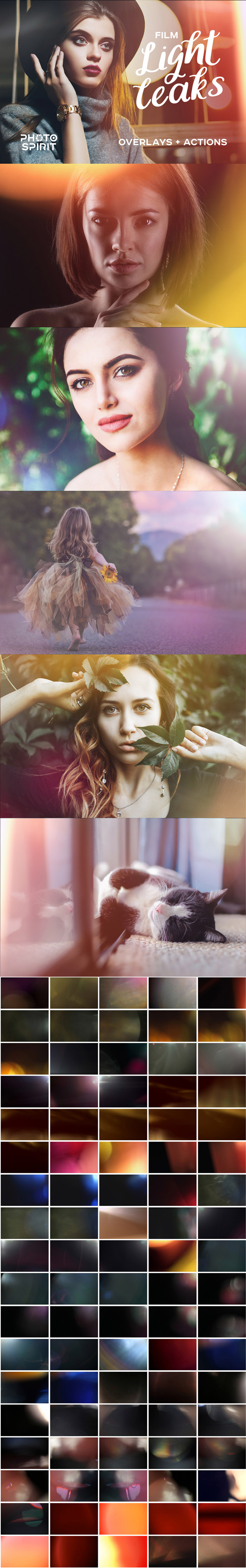 Film Light Leaks Overlays - Photo Effects Actions