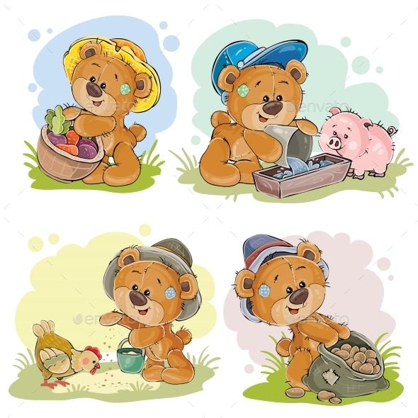 GraphicRiver Brown Teddy Bear Farmer 21088928