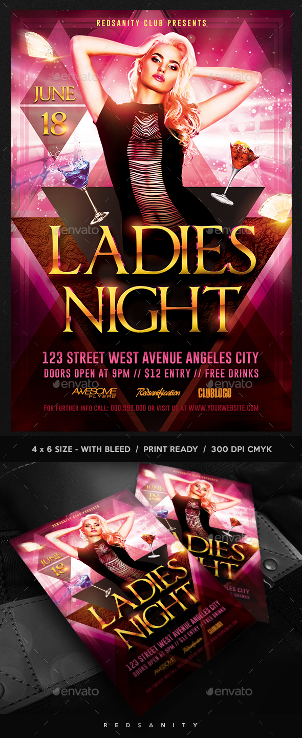 Ladies Night Flyer Template Plus FB Cover - Clubs & Parties Events