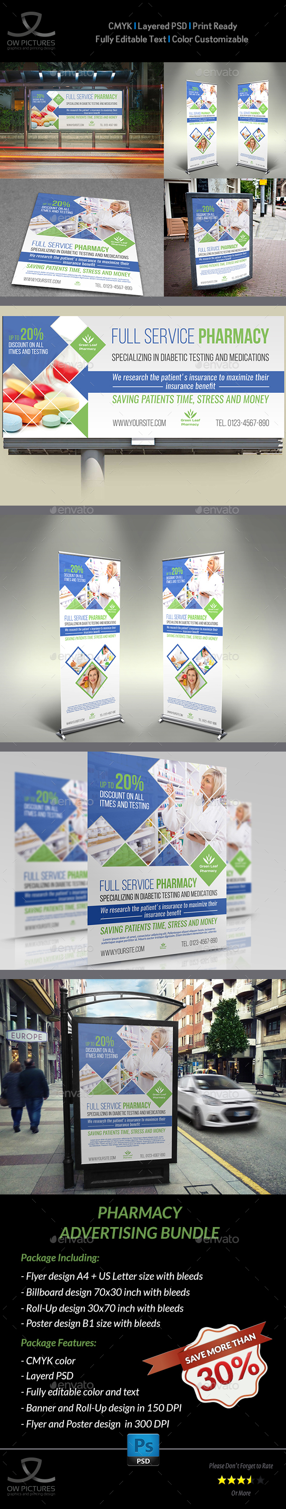Pharmacy Advertising Bundle Vol.2 - Signage Print Templates