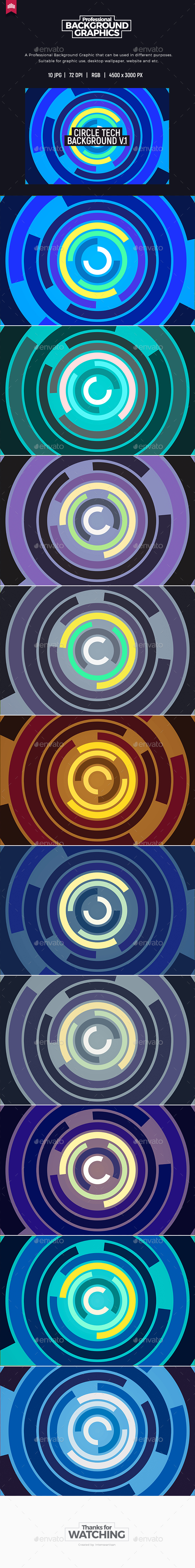 Circle Tech Background V.1 - Tech / Futuristic Backgrounds
