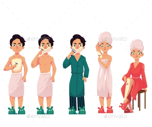Set of People Shaving - People Characters