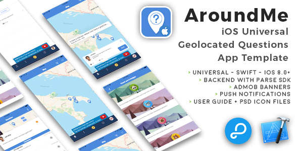 AroundMe | iOS Universal Geolocated Questions App Template (Swift) - CodeCanyon Item for Sale
