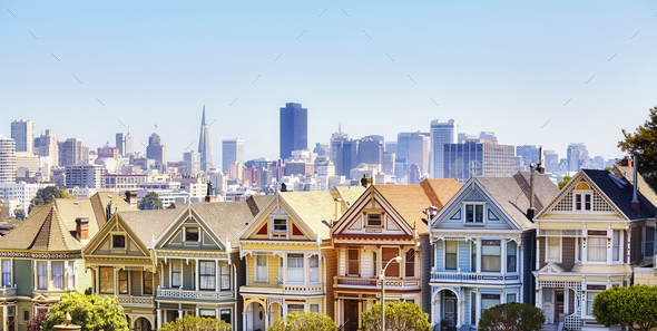 San Francisco skyline with famous Painted Ladies houses, USA. - Stock Photo - Images