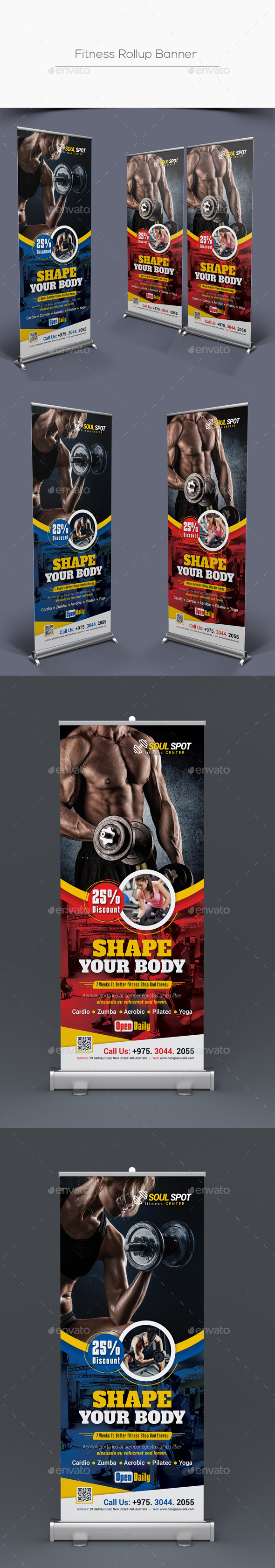 Fitness Rollup Banner - Signage Print Templates