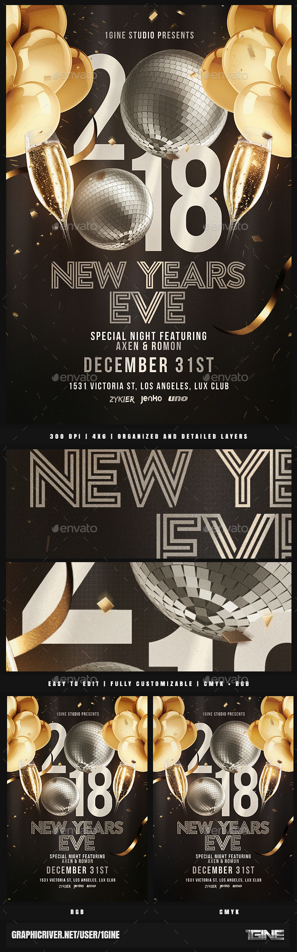 NYE Party Flyer Template v2 - Clubs & Parties Events