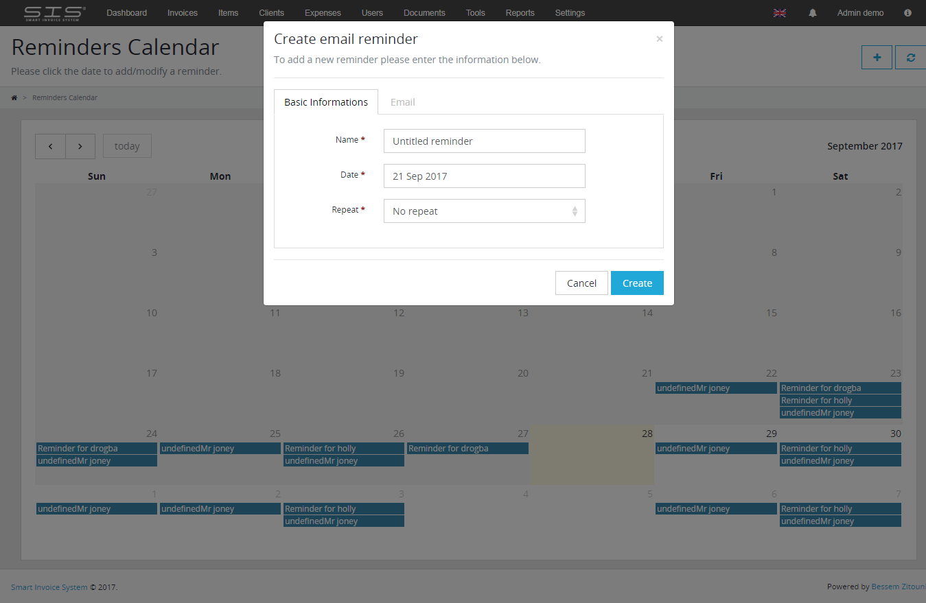 Calendar Reminder Design : Smart invoice system by bessemzitouni codecanyon