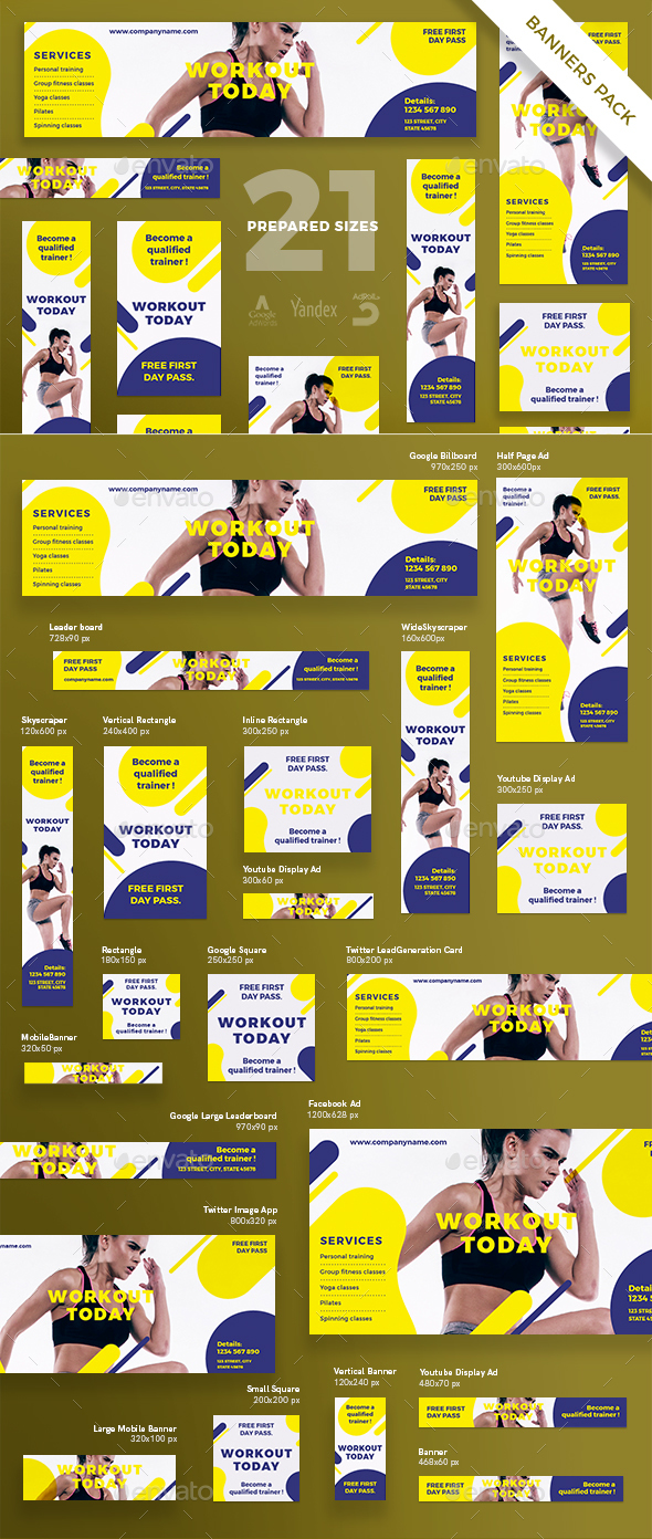 Workout Banner Pack - Banners & Ads Web Elements