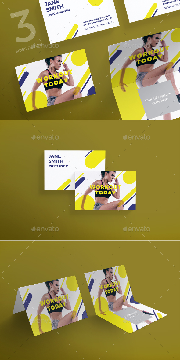 Workout Business Card - Business Cards Print Templates