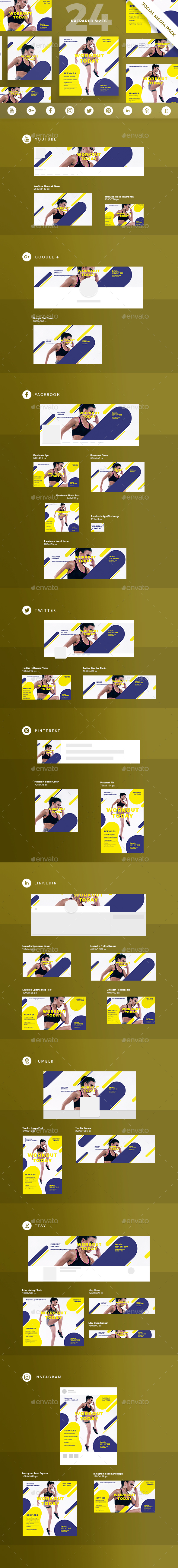 GraphicRiver Workout Social Media Pack 21089361
