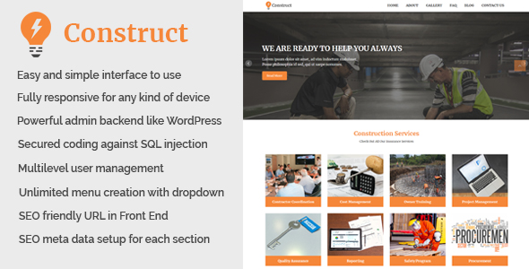 Construct - Building and Construction Website CMS - CodeCanyon Item for Sale