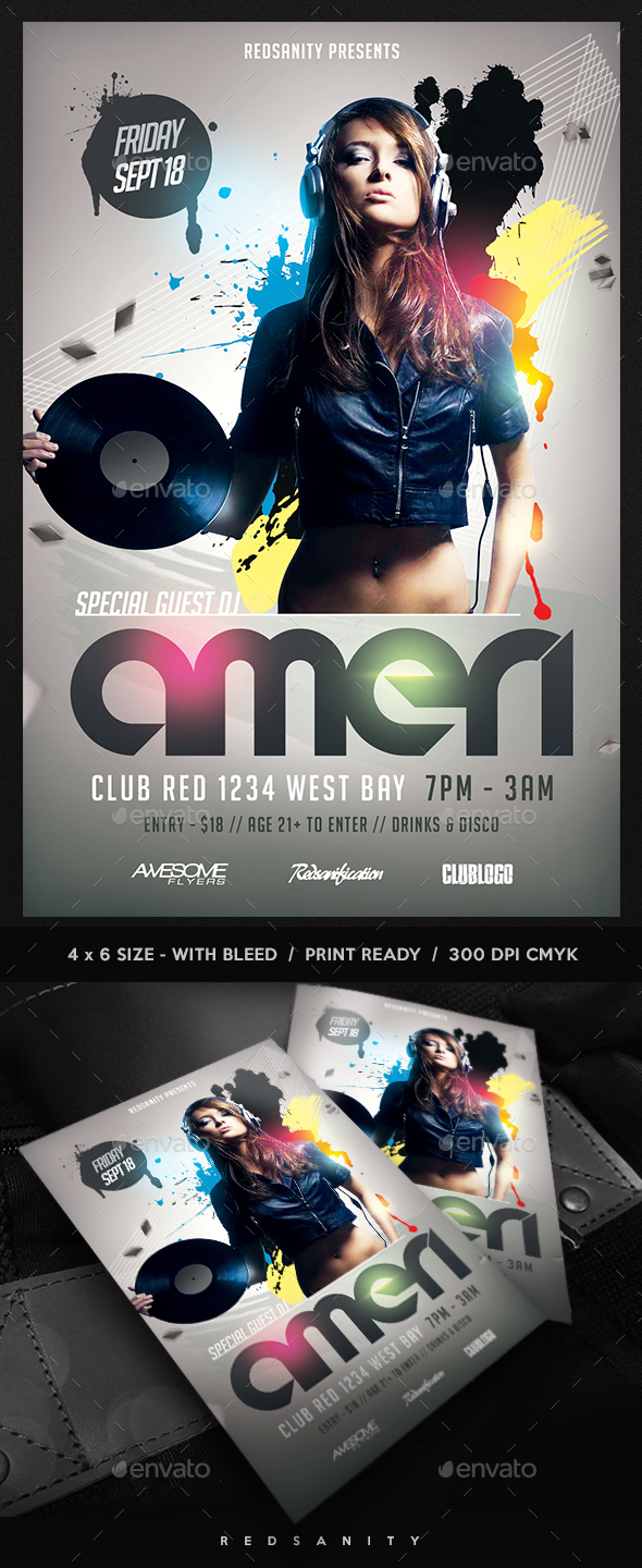 Special Guest DJ Flyer - Clubs & Parties Events