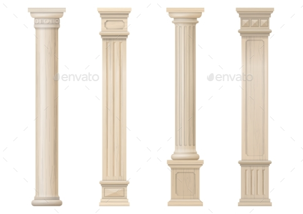 Set of Vector Classic Wood Columns - Buildings Objects