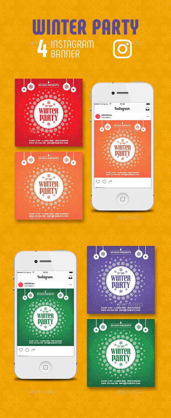 GraphicRiver Winter Party Instagram Banner 21089573