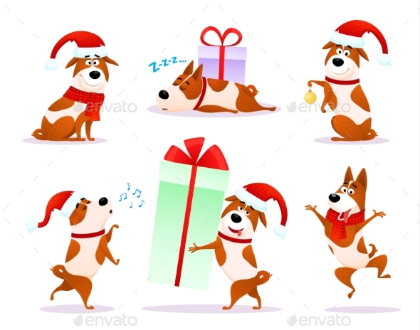 GraphicRiver Christmas Cartoon Dog Emoticons 21089725
