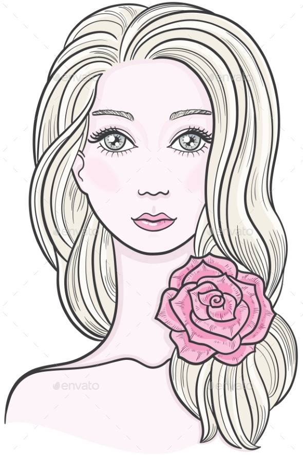 GraphicRiver Line Art of a Young Woman 21089781