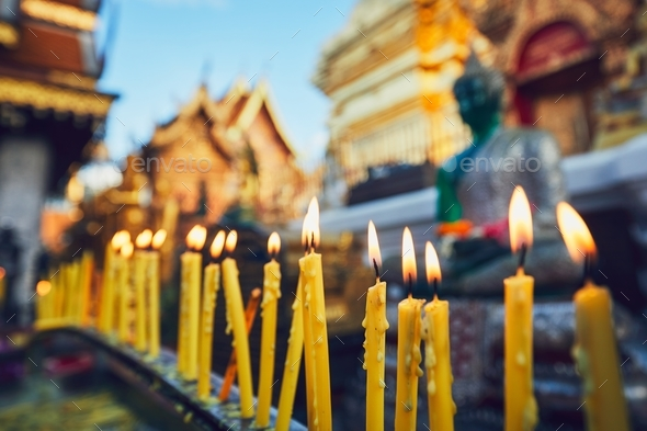 Buddhist temple at the sunset - Stock Photo - Images
