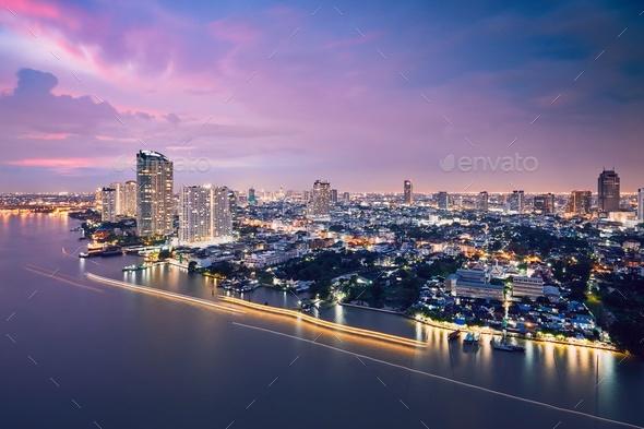 Bangkok skyline during dusk - Stock Photo - Images