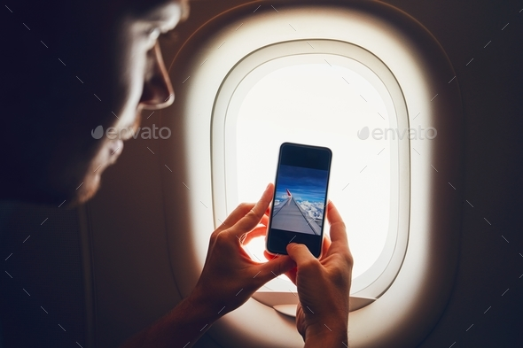 Photo from the airplane window - Stock Photo - Images