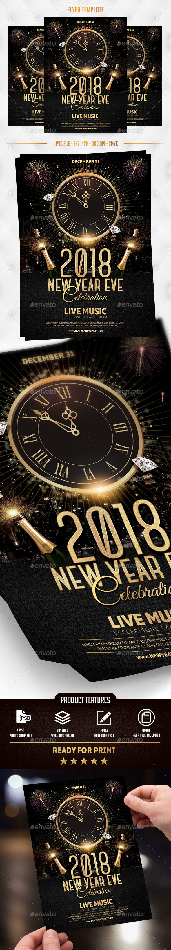 GraphicRiver New Year Eve 2018 Flyer Template 21089871