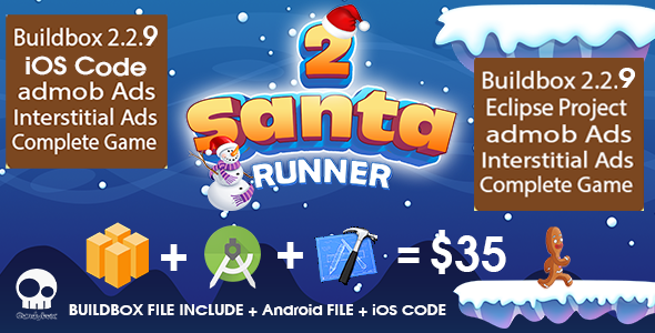 Santa Runner 2 complete package + Buildbox file + Android file + ios code