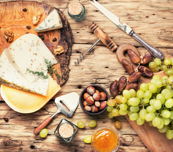 cheese with nuts - Stock Photo - Images